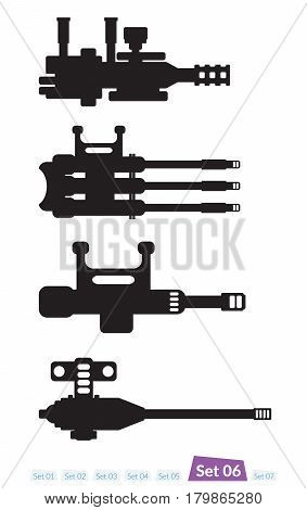 Set of Spaceship weapons silhouette set six