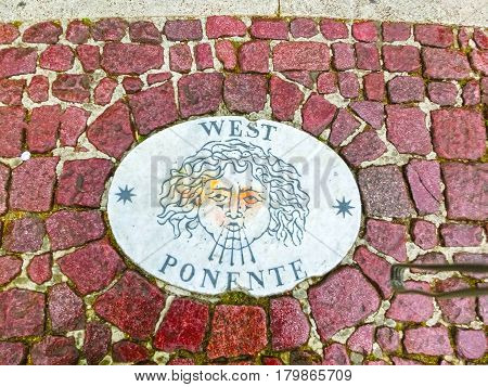 A stone laid in St Peter's Square, Vatican City, by Bernini points in the direction of West.