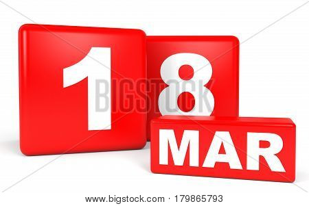 March 18. Calendar On White Background.