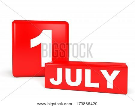 July 1. Calendar On White Background.