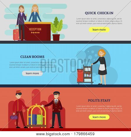Hotel service horizontal banners with receptionist cleaning staff and porters in flat style vector illustration