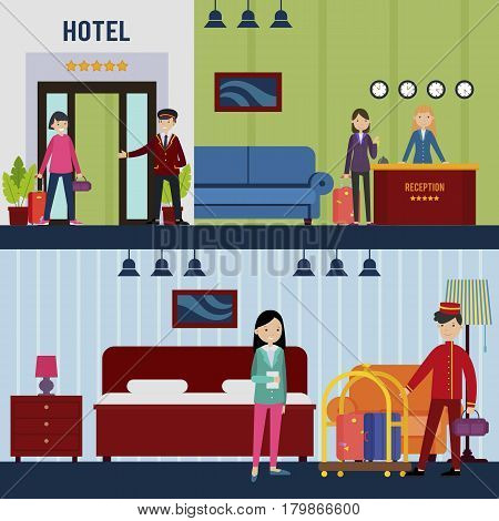 People in hotel horizontal banners with doorman meeting customer polite receptionist and porter delivering baggage to room vector illustration