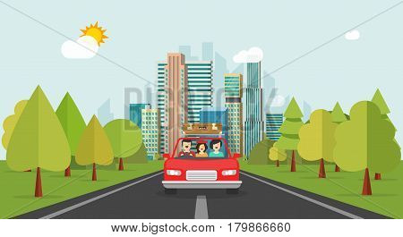 Family travel by car, flat cartoon style happy family with kid travelling together via automobile vector illustration, concept of people journey, summer vocations, fun weekend trip