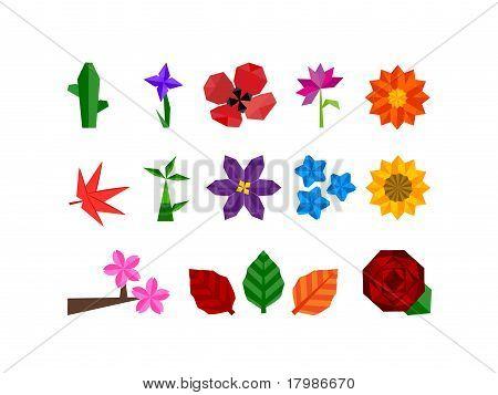 Origami Flower Plant Icon Set