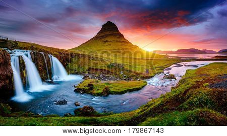 Kirkjufell volcano the coast of Snaefellsnes peninsula. Picturesque and gorgeous scene. Location Kirkjufellsfoss, Iceland, sightseeing Europe. Breathtaking picture of the popular tourist attraction. poster