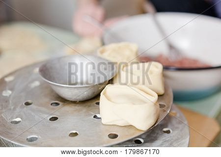 The Woman Molds Manti. Cooking Of The House, Home-made Food, Food.