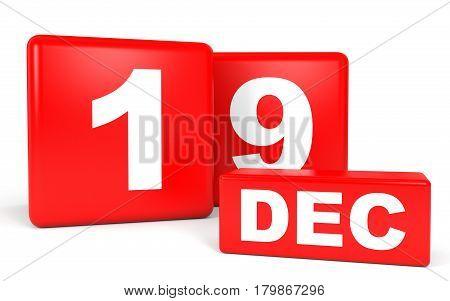 December 19. Calendar On White Background.