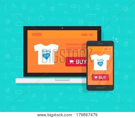 Responsive internet shop design, online store web site page showed on laptop and smartphone, ecommerce shop website on computer and mobile phone, flat cartoon style e-commerce development concept