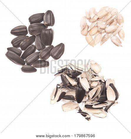 sunflower seeds and husks isolated on white background