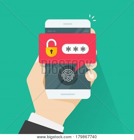 Hand with mobile phone unlocked with fingerprint button and password notification vector, concept of security, personal access, user authorization, login, smartphone protection technology