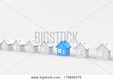 Blue and white house on white background. 3D rendering.