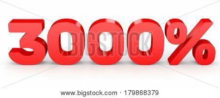 Three Thousand Percent. 3000 %. 3D Illustration.