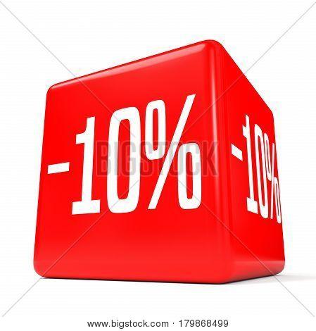 Ten Percent Off. Discount 10 %. Red Cube.