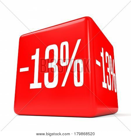 Thirteen Percent Off. Discount 13 %. Red Cube.
