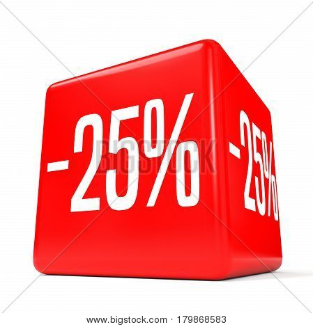 Twenty Five Percent Off. Discount 25 %. Red Cube.
