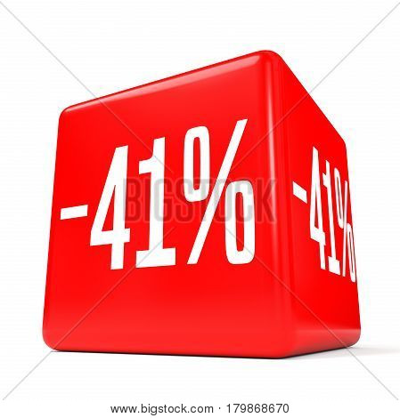 Forty One Percent Off. Discount 41 %. Red Cube.
