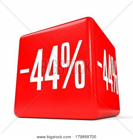 Forty Four Percent Off. Discount 44 %. Red Cube.