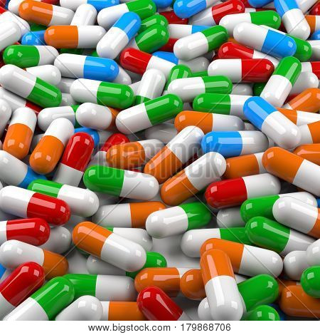 Infinite colorful medical pills background. 3D Rendering.