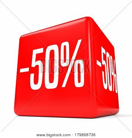 Fifty Percent Off. Discount 50 %. Red Cube.