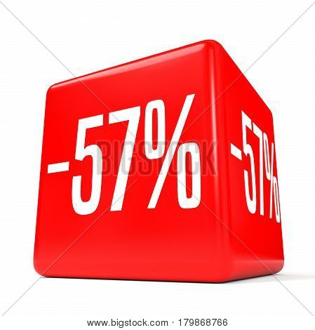 Fifty Seven Percent Off. Discount 57 %. Red Cube.