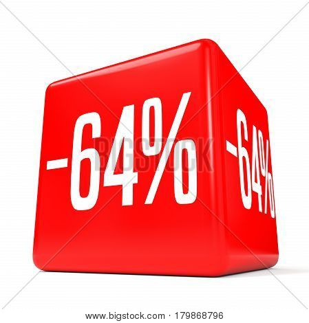 Sixty Four Percent Off. Discount 64 %. Red Cube.