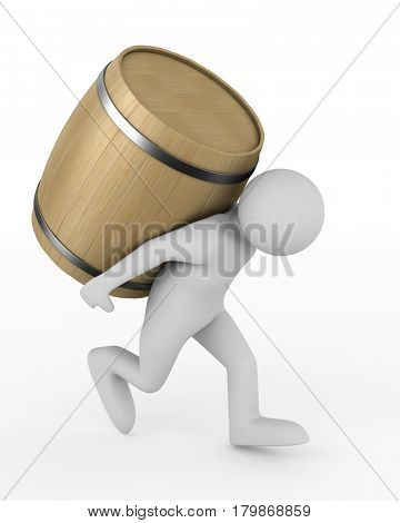 man bears barrel on white background. Isolated 3D illustration