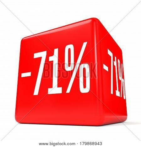 Seventy One Percent Off. Discount 71 %. Red Cube.
