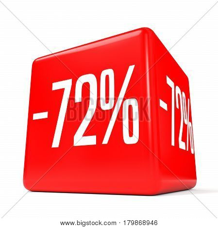 Seventy Two Percent Off. Discount 72 %. Red Cube.