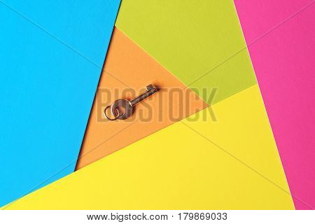 Golden Key On A Multicolored Background