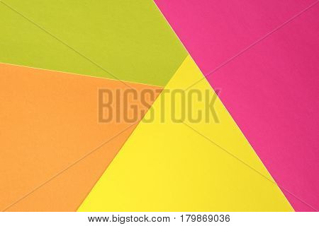 Multicolored background top view. Trendy colorful photo. Minimal style with colorful paper backdrop. Flat lay fashion concept: pastel background. Trendy minimal flat lay concept.