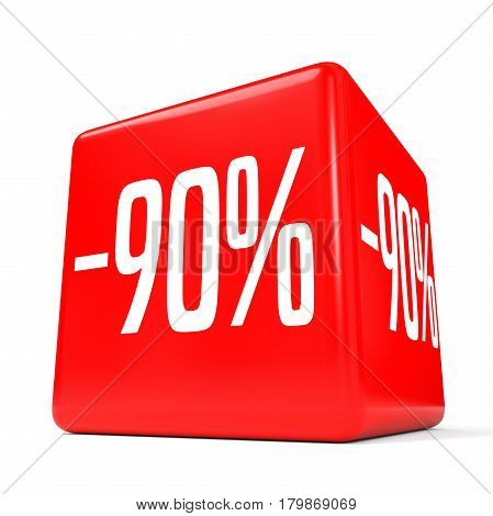 Ninety Percent Off. Discount 90 %. Red Cube.