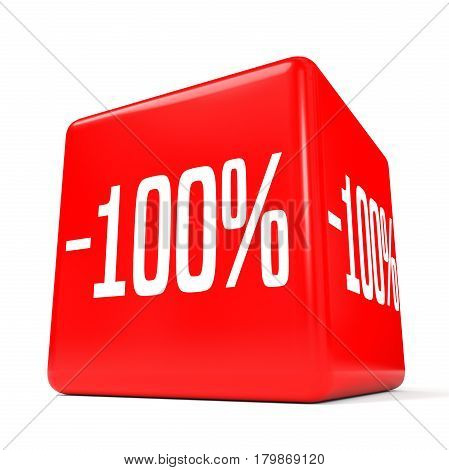 One Hundred Percent Off. Discount 100 %. Red Cube.