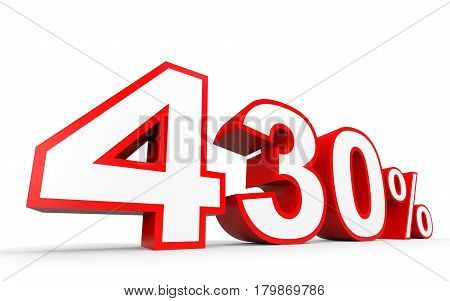 Four Hundred And Thirty Percent. 430 %. 3D Illustration.