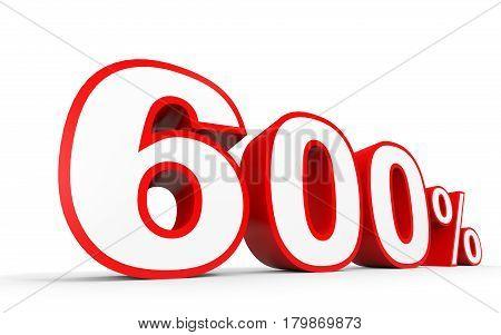 Six Hundred Percent. 600 %. 3D Illustration.