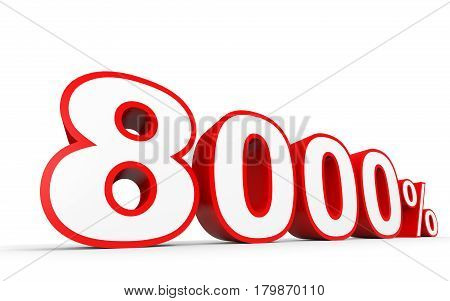 Eight Thousand Percent. 8000 %. 3D Illustration.