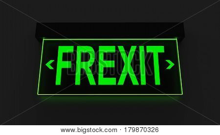 Emergency Exit sign Concept 3D Illustration of France Exiting EU