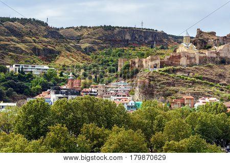 Narikala Fortress And Old City In Tbilisi, Georgia
