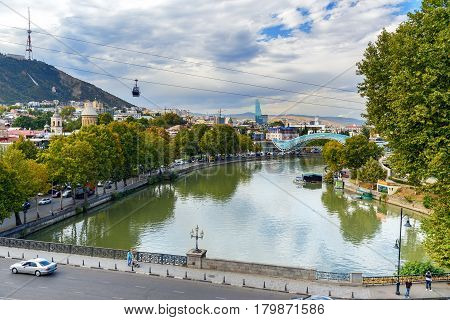 View Of The Kura River In Tbilisi, Georgia