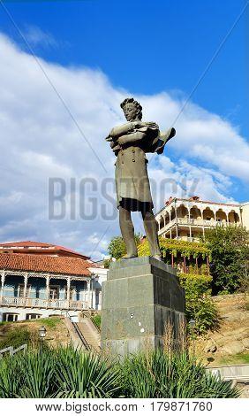 Statue Of Georgian Poet Nikoloz Baratashvili In Tbilisi, Georgia