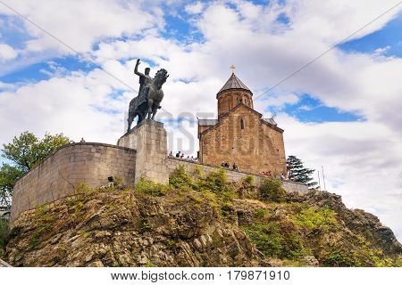 Metekhi Church And Vakhtang Gorgasali Monumen In Tbilisi, Georgia