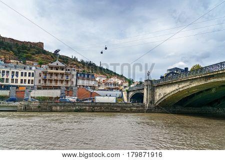 Old City And Metekhi Bridge In Tbilisi, Georgia