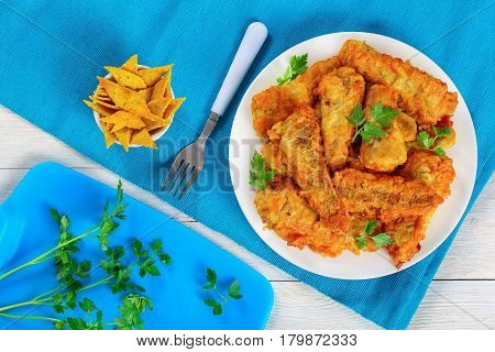 Fried Perch Fillets Decorated With Parsley
