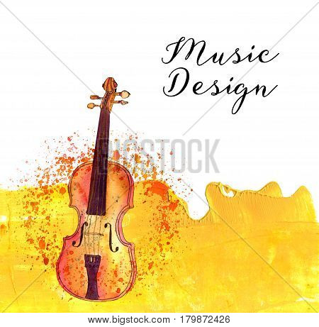 A watercolor drawing of a violin on an abstract acrylic golden background texture with a rough edge on white background, with a place for text