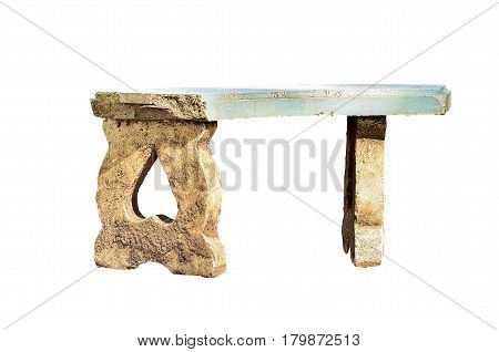 Old Marble benches isolate on white background