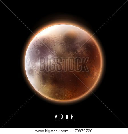 Realistic moon in the night sky. The full moon. Vector illustration