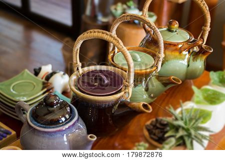 Group Of Hot Ceramic Teapots stock photo