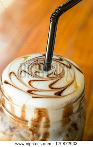 Iced Coffee With Chocolate Sauce stock photo
