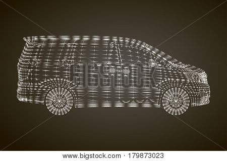 Stylized vector illustration of the brandless minivan car. Conceptual image of transportation