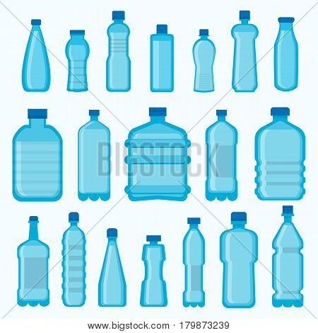 Plastic bottles vector icons set. Isolated different shapes of empty transparent containers with lids for water, juice or soda drinks