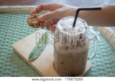Cookie And Iced Chocolate Drink stock photo